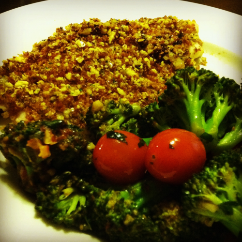 Chorizo Almond-Crusted Halibut with Greek Broccoli