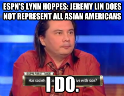 lynne hoppes meme: jeremy lin doesn't rep asian americans, i do