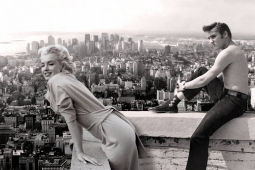 thezoereport:  Marilyn Monroe and Elvis Presley take in the sights of a rooftop view.