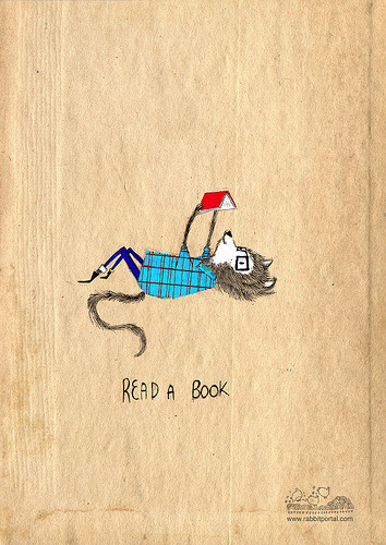"""Read a Book"" - illustration from Rabbit Portal. Via teachingliteracy:  Read a book (by rabbit_portal)"