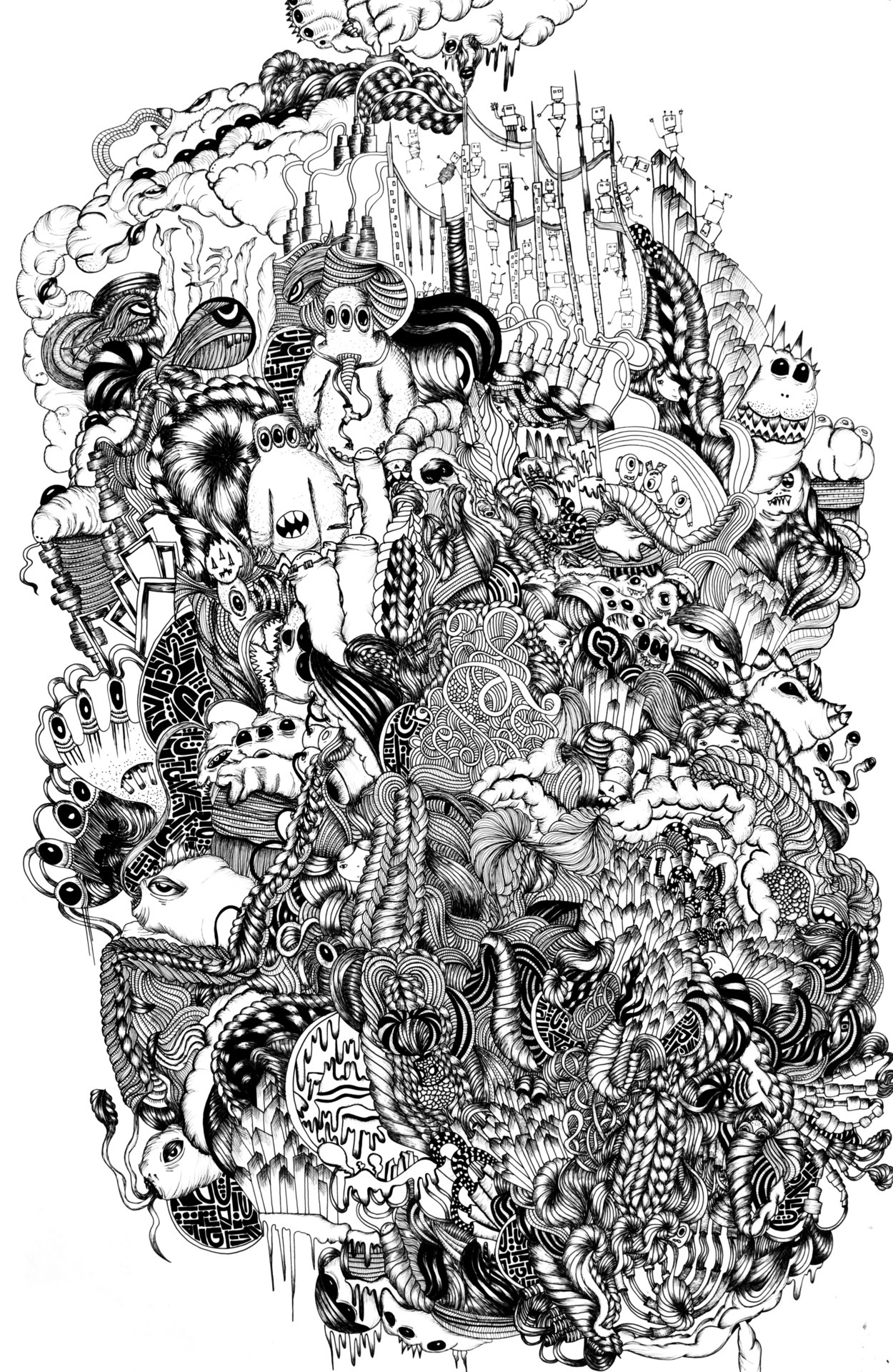 Pen and Ink. A collection of different drawing all into one giant world full of monsters, robots and other things that I see. http://davidzobel.tumblr.com/