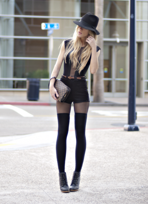 what-do-i-wear:  Hat & Belt - Vintage, Bodysuit, Shorts, & Socks - American Apparel, Vintage Clutch - Louis Vuitton, Boots - Urban Outfitters (image: thenativefox)  Meh, there are just some things I don't go for in the name of fashion.