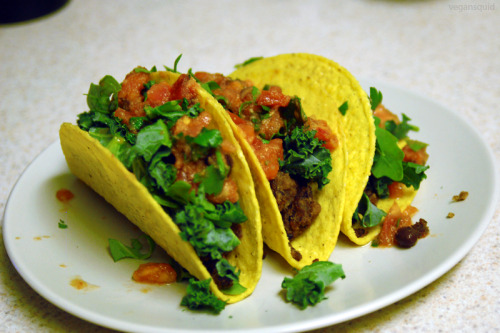 vegansquid:  Homemade tacos with faux meat, spicy tomato salsa, kale, and arugula.
