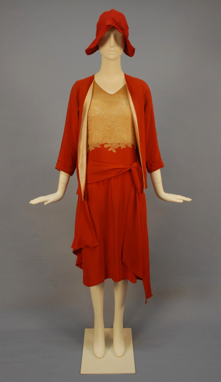 """Wedding"" ensemble, ca 1930 The auction website says that this is a wedding dress, but I doubt that.  Maybe it was worn by a bridesmaid or guest?  Oh, and I would probably wear this every day if not for the lace."