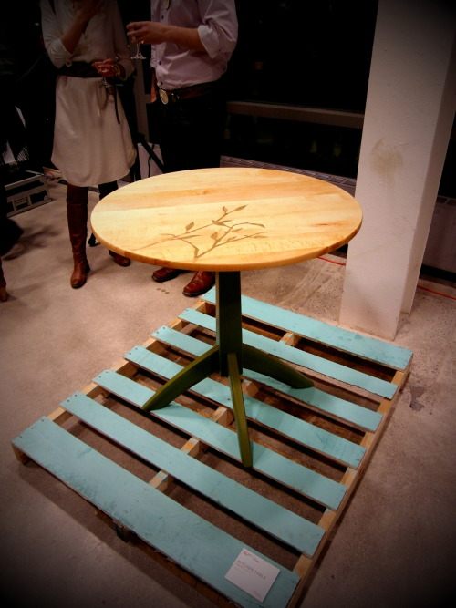 Kitchen Table, 2012. Salvaged and repurposed maple bed, low voc paint, metal leaf. Donated to 40 Oaks, a community centre in Toronto.