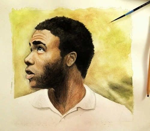 drawinginspirashun:  eatsleepdraw:  Donald Glover/Childish Gambino in Watercolors Follow me here for more paintings/drawings! :)  So pretty. @.@