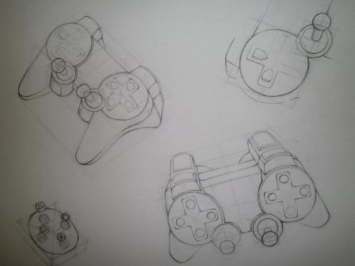 video game controller structure drawing 18x24,graphite drawing