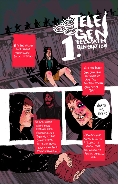 Julia Scott's NSFW sci fi webcomic Telepath Generation (or TeleGen for short) has begun serialisation! I helped write the first 40 or so pages, so you'll be reading my words for a while. I had a lot of fun playing with Julia's characters in the rich, detailed and dirty universe she's created. Just know that when I say NSFW, I do very much mean it's not for the squeamish — there's going to be heavy cursing and bloodied everything. And with that, please get bookmarking and enjoy!