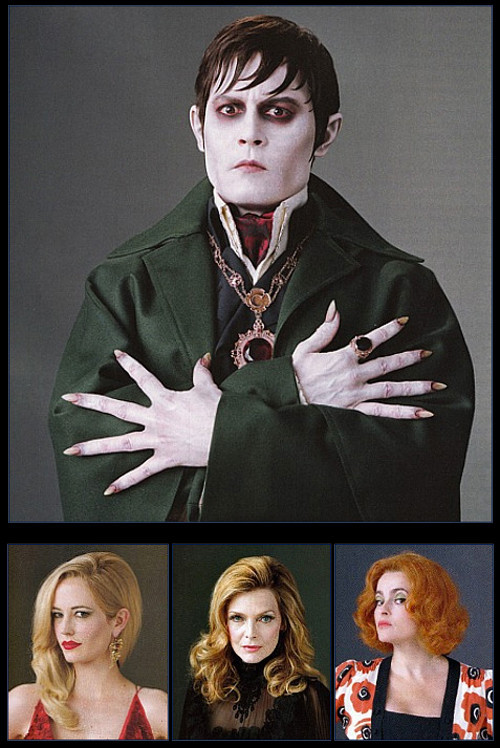 suicideblonde:  Johnny Depp, Eva Green, Michelle Pfeiffer and Helena Bonham Carter in Dark Shadows