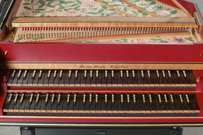 A double-manual German harpsichord. Predecessor to the pianoforte.