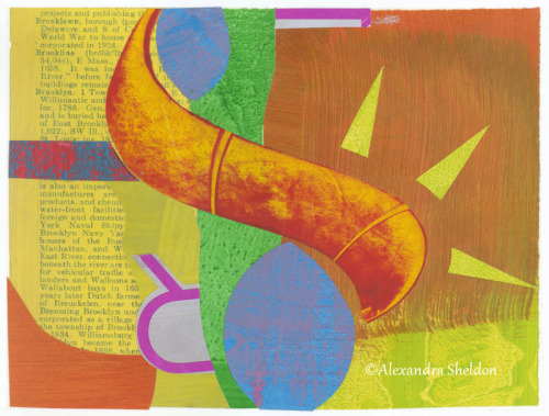 mixed media collage in orange and yellow http://alexandrasheldon.com/index.php?page=contactus