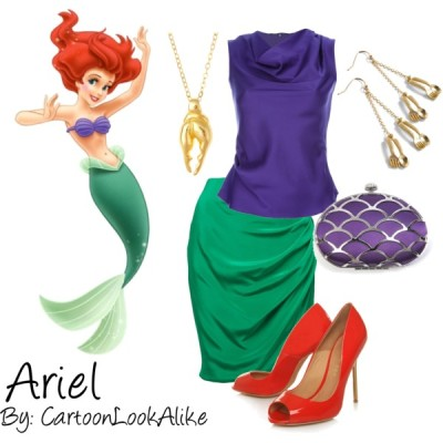 This look would be a little more out there, but looks so cute for an Ariel.