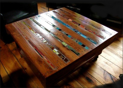 To add to the gallery of examples of pallets repurposed for various uses, there's this: Stephane Beauchet's mosaic table — with tile inlaid between the pallet's wood slats. Nice!