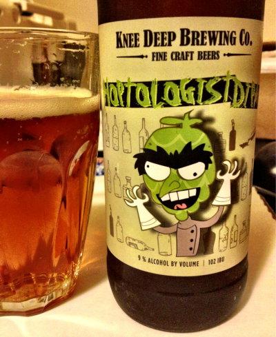 Hoptologist DIPA, Knee Deep Brewing Co., Lincoln, CA, 9% abv.  The guy on the label is actually me, reacting to my first taste of this double IPA before charging outside to find more. Crazy delicious hops (102 IBUs) and then a little sweet on the finish.