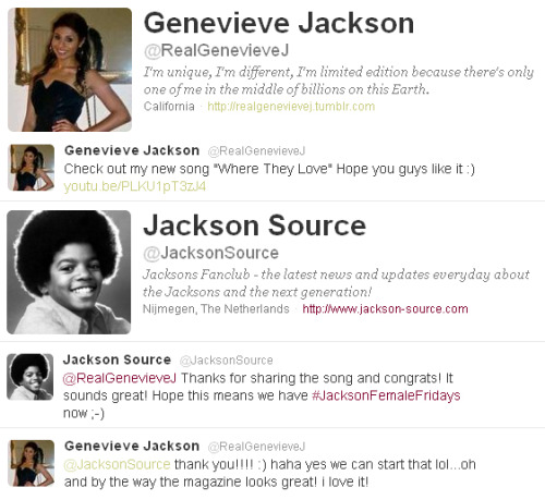 @RealGenevieveJ uploads new song, @JacksonSource replies and she replies again with her comment on Jackson Magazine 2011 edition. Sweet….Thanks Genevieve!