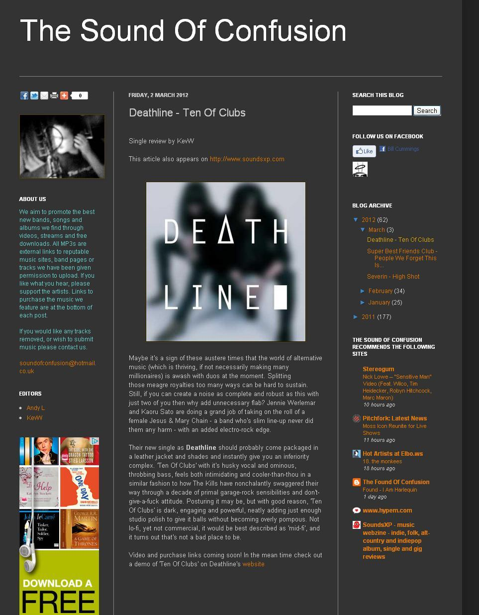 The Sound of Confusion review Deathline 'Ten of Clubs'