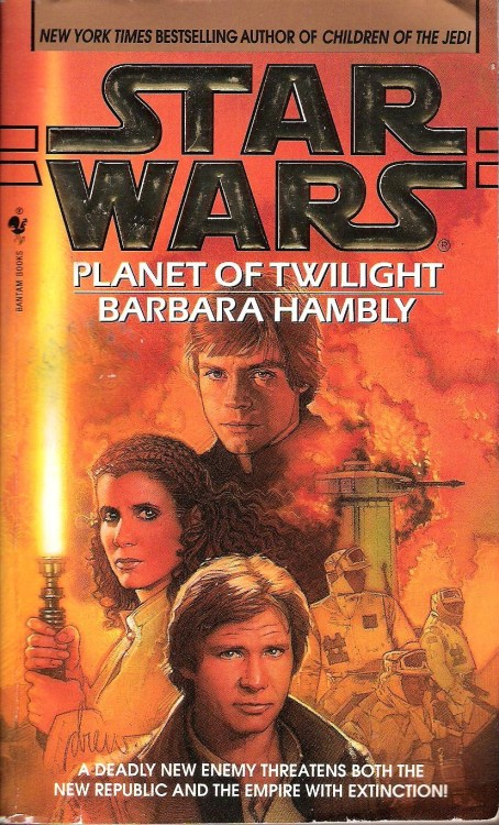 "Planet of Twilight by Barbara Hambly (1997, Bantam) If you're expecting jokes about the title of this book, you're in for a disappointment. Every Twilight joke possible has already been made, I think, and such jokes are past their expiration date. Although, I did read part of Planet of Twilight in a room full of people who were watching Breaking Dawn.  The majority of this novel's action takes place on Nam Chorios, a planet where an anti-technology religious sect known as the Therans are fighting with a small minority of settlers for the right to dictate policy and decide whether the planet will join the New Republic.  The situation, it turns out, is nowhere close to being as simple as that, and Barbara Hambly treats us to a number of twists as the plot is unfolds and reveals itself to be a tangled web of petty rivalries, grand schemes for galactic domination, and corporate espionage. A deadly plague with the potential to spread throughout the galaxy is the primary threat here. This is a welcome change from ""yet another planet-destroying laser/spaceship/missile.""  Antagonists involved include an Imperial Moff, two former Jedi who have grown petty and self-absorbed, and a truly disturbing mastermind. He turns out to be an evolved bug, but despite my distaste for bug people, I thought that Dzym, a parasitic creature feeding on his minions' life force, was effective in his creepy-crawliness, owing to some graphic and disturbing passages from Hambly describing his many mouths and the pleasure he took from draining his victims.  As in her previous Star Wars book, Children of the Jedi, Hambly writes Leia very well, giving her way more to do than most authors tend to. Early in the novel, she is captured and held prisoner by Dzym and his underlings, but she escapes on her own and plays a crucial role in the book's climax. Hambly explores Leia's daddy issues and her fears about becoming another Vader if she learns the ways of the Force. It's very rewarding to see her finally confront these issues after so many other books that have dealt with them only fleetingly.  The highlight of the book, though, is its ending. Luke has also come to the planet of Nam Chorios, looking for Callista, the Jedi-out-of-time he fell in love with in Children of the Jedi. Callista had left on a journey of self-discovery after realizing that she wasn't getting anywhere with trying to reawaken her ability with the Force. When Luke finds her in this book, it's only to realize that the two of them are now on separate paths and can't be together. The last chapter of this book is very emotionally effective, leaving the reader with a wonderfully bittersweet feeling on the last page.  From what I can gather by flitting around the internet and reading discussion boards and comment threads, most fans really don't like Hambly's Star Wars work. They mostly cite a lack of coherence in the plots and some ill-defined distaste for her writing style. I'll agree that Children of the Jedi and Planet of Twilight aren't the greatest Star Wars books ever written, and her plotting can be a little difficult to follow in places (and sure, a Hutt with a lightsaber is a little silly). Still, I think that she gets the emotional center of each of the main Star Wars characters (including even C-3PO and R2-D2) just right, and for me, that's what's most important."