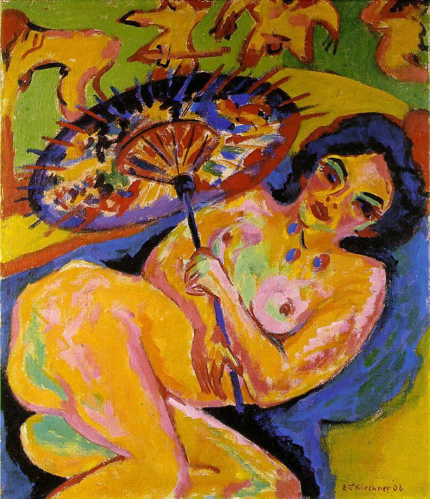 Kirchner's originality is optically based.  Ernst Ludwig  Kirchner, Girl under a Japanese Umbrella (1909)