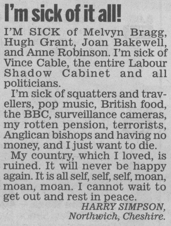 Perhaps the greatest reader letter ever.