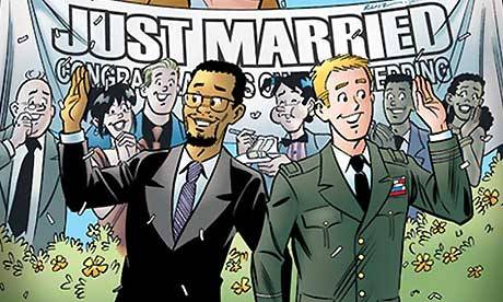 think-progress:  guardian:   Archie gay marriage comic sells out in face of boycott call Conservative lobby One Million Moms' campaign for Toys R Us to withdraw wedding issue from sale falls flat   Go Archie!  One Million Moms: How to guarantee your product will be a success. Seriously … Their track record is straight-up broken.