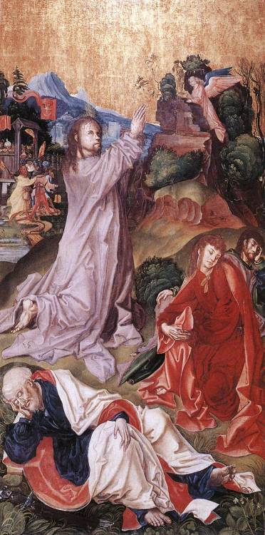 Christ on the Mount of Olives by M. S. Master, (Hungarian, active 1500-1510), from the Selmecbánya Altarpiece, tempera on panel, 57 x 79 cm, Keresztény Múzeum, Esztergom
