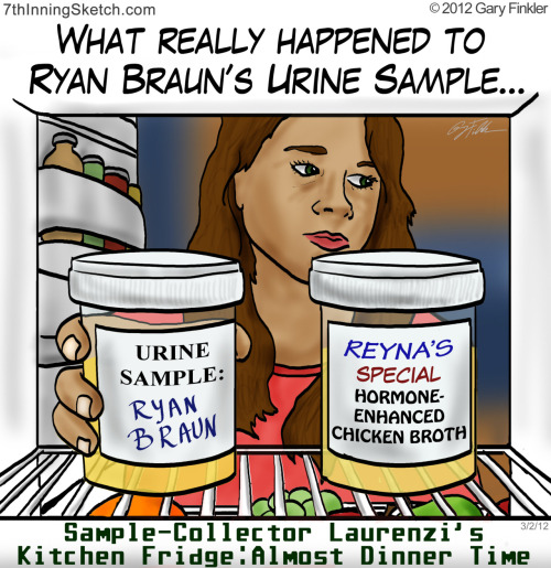 7thinningsketch:  Chicken-Braun Soup OR The Old Switcheroo  So that is why MLB refused the offer for a DNA test…