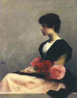 guinilde:  Sitting girl with flowers on her lap, Alfred-Pierre Joseph Agache  a gentle flower girl