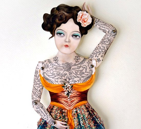 Victorian Tattooed Gal Paper Puppet Doll by crankbunny on Etsy