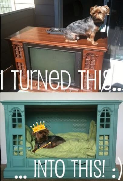 truebluemeandyou:  DIY TV Console into a Dog or Cat Bed. Detailed tutorial by Endorsed by Igor here. *This would be so great for huge cats (like Maine Coon Cats).