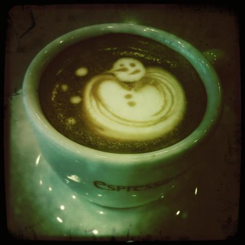 My barista was showing off a few days back when it was snowing.
