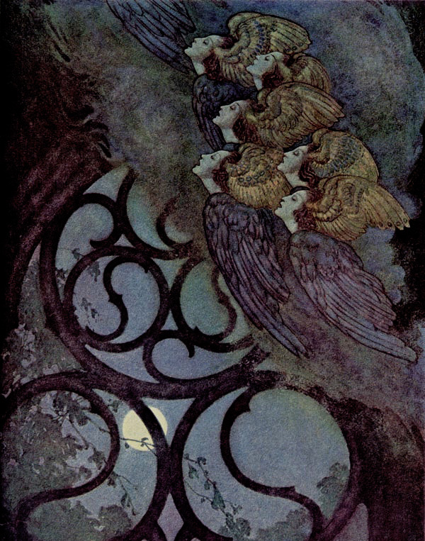 "Edmund Dulac  Painting for ""The Bells and Other Poems"" by Edgar Allan Poe , c.1912.   via. transylvanianmisanthropy"