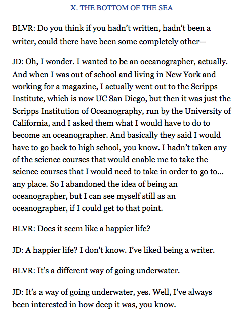 BOOM! Haha. Sheila Heti interviews Joan Didion in the Believer and it's online and pretty great!