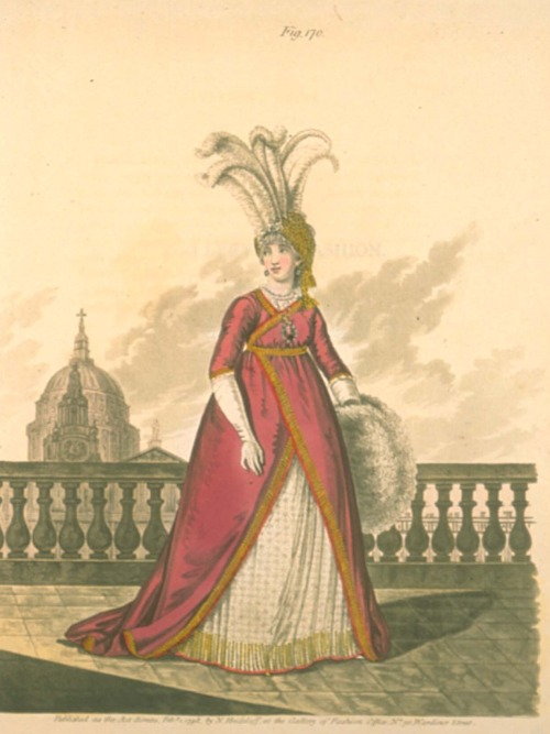 Gallery of Fashion, February 1798.  There is no such thing as too many giant feathers stuck to your head.