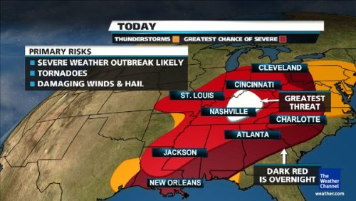 Latest map regarding today's severe weather.  The worst of the storm will be in TN & KY according to forecasters.