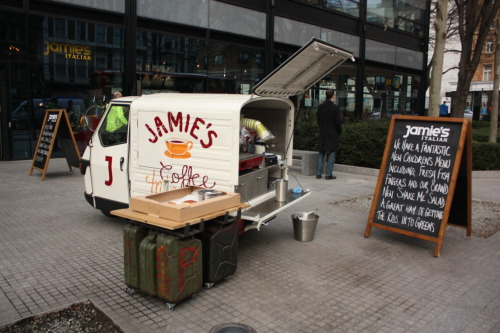 "Mini Food Truck cuteness. I had no idea Jamie Oliver was behind this one. I think it would be very easy to remake that ""J"" into a ""T"" and drive this little guy back to Paris."