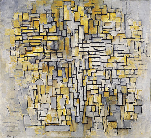 "(via the Guggenheim online collection) ""When Mondrian saw Cubist paintings by Georges Braque and Pablo Picasso at a 1911 exhibition in Amsterdam, he was inspired to go to Paris. Tableau No. 2/Composition No. VII,  painted a year after his arrival in 1912, exemplifies Mondrian's regard  for the new technique. With a procedure indebted to high Analytic Cubism,  Mondrian broke down his motif—in this case a tree—into a scaffolding of  interlocking black lines and planes of color; furthermore, his palette  of close-valued ocher and gray tones resembles Cubist canvases. Yet  Mondrian went beyond the Parisian Cubists' degree of abstraction: his  subjects are less recognizable, in part because he eschewed any  suggestion of volume, and, unlike the Cubists, who rooted their  compositions at the bottom of the canvas in order to depict a figure  subject to gravity, Mondrian's scaffolding fades at the painting's  edges. In works such as Composition 8, based on studies of  Parisian building façades, Mondrian went even further in his refusal of  illusionism and the representation of volume."""