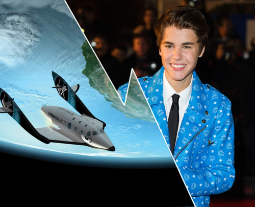 discoverynews:  Should We Launch Justin Bieber into Space? Just call him the Biebernaut. An astronomer is making a case for  launching pop singer Justin Bieber into suborbital space aboard a  private rocketship. The idea is not to rid the world of the Canadian teenager and his pop  stylings — he would come back down to Earth eventually, after all —  but rather to help jump-start the emerging suborbital spaceflight industry. keep reading Photo credit: Virgin Galactic/CORBIS  Una lástima que para darle publicidad estas cosas haya que recurrir a eso…
