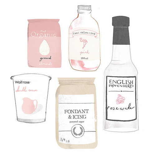 artpixie:  Rose Macaroon Ingredients.  Clare Owen Illustration