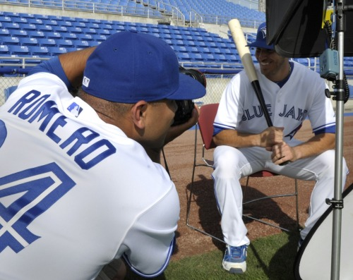 nationalpostsports:  Your Toronto Blue Jays spring training photo of the day (or at least until we find something better this afternoon): Pitcher Ricky Romero takes photos of teammate J.P. Arencibia during photo day. Photo: REUTERS/Mike Cassese   Apparently it's photo day for these fine gentlemen.