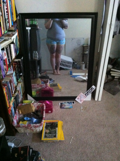 Messy ass room and spongebob short shorts ;D