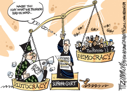 """Maybe this isn't what the Founders had in mind…"" USSC Citizens United Political Cartoon"