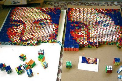 Interesting art. Made with rubik's cubes.