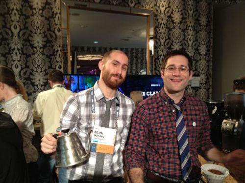 Coffee Common baristi, Mark Hundley and Colin Whitcomb at Palm Springs, eagerly waiting to take on the last day of TEDActive.