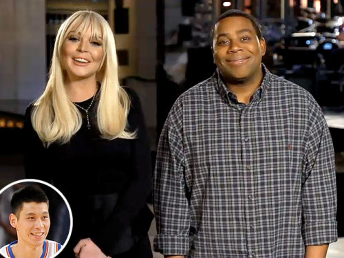 """It's time for Lind-sanity!"" Saturday Night Live's Kenan Thompson, getting this weekend's host Lindsay Lohan in on New York's Jeremy Lin mania"