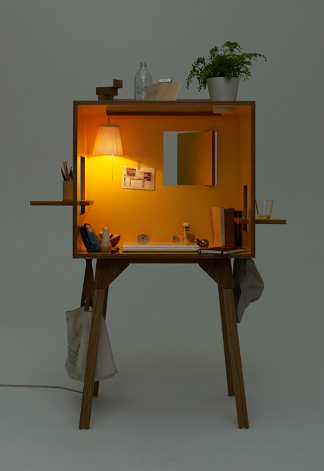 lustik:  Koloro Desk - A dollhouse workspace by Torafu Architects  via Spoon & Tamago