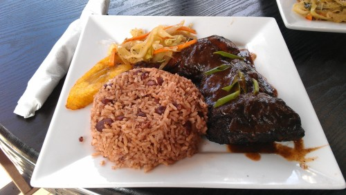Jerk Chicken, Rice & Peas, and Plantains from Stir It Up in Little 5 Points Atlanta