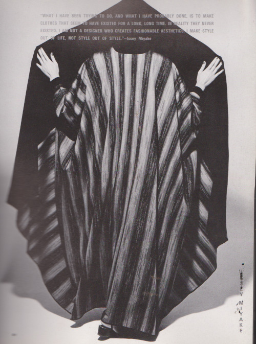dreadedsunnydays:  'a coat/dress combination made of acrylic knit and wool' Issey Miyake by Noriaki Yokosuka