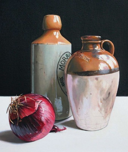 Jane Cruikshank Stoneware Bottles with Red Onion 2012