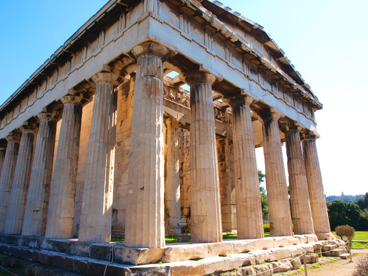 The Temple of Hephaestus is the best preserved temple of Greece. It sits in the corner of the Ancient Agora, or marketplace. The rest of the site is in ruins, but the temple is almost perfectly assembled, inside and out. It was cool to see this and to imagine what it must have looked like when everything (including the Parthenon) was still standing. It still blows my mind that I'm looking at a building that people walked in and used 2500 years ago.