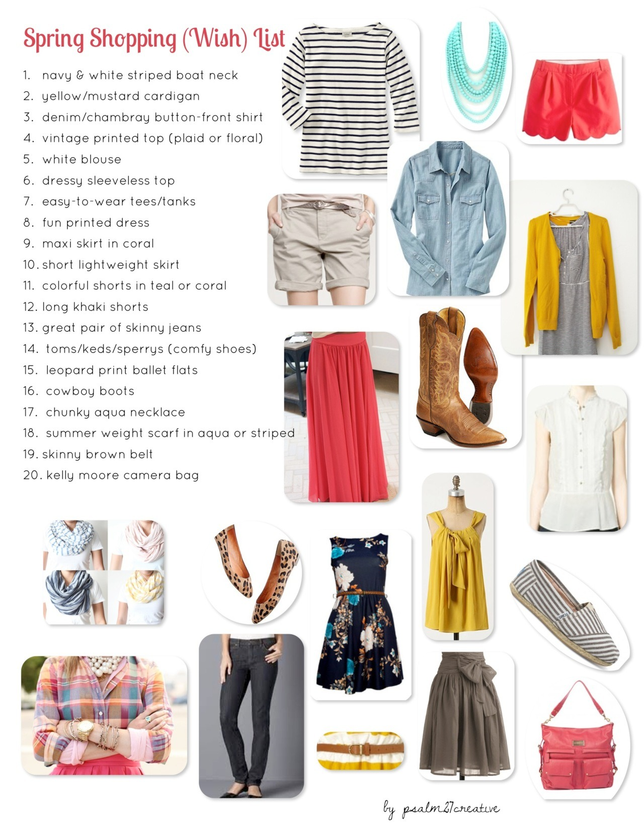 Spring Shopping (Wish) List  I have a confession to make. It has been a long while since I've been shopping, and the clothes in my closet are looking a little worse-for-the-wear. I am not usually the best at shopping for clothes. Sure, I am great at finding sales, and pretty good at shopping for my body type. But I have never had a real vision in terms of my wardrobe, and I've never been great at shopping strategically to fill in the gaps. Since I'm going to have to be super thrifty in updating my wardrobe this time around, I knew I needed to make a plan. So here it is, my spring shopping (wish) list for 2012 -  much thanks to pinterest. Now I just need to get shopping…wish me luck!